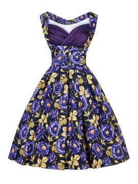 Vintage Madison Dress in Purple Rose
